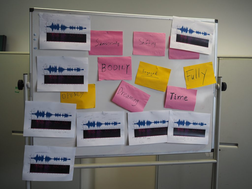 Image shows a board with various words pinned around visual spectrogram print out