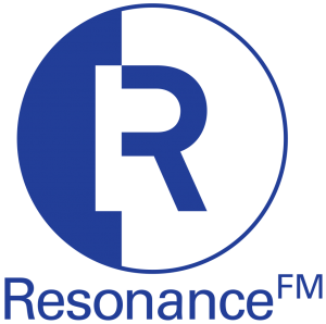Resonance FM logo in blue and white