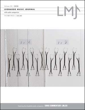Front cover of the Leonardo Music Journal featuring stethoscopes