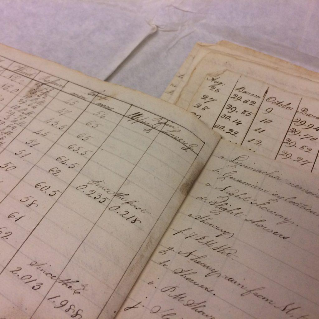 Handwritten meteorological journals of visually impaired, natural philosopher John Gough.