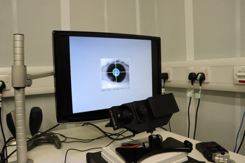 Image show a computer screen with a zoomed in image of an eyeball